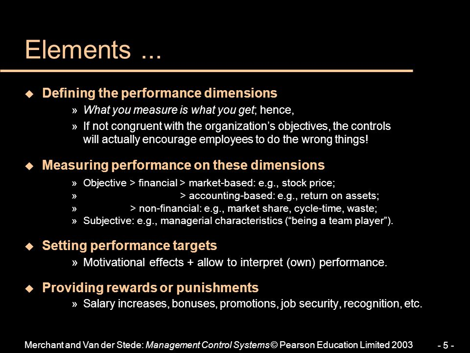 Elements ... Defining the performance dimensions