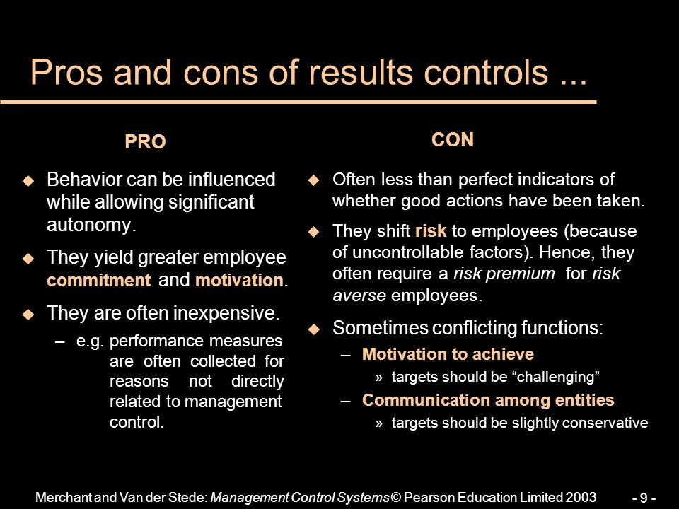 Pros and cons of results controls ...