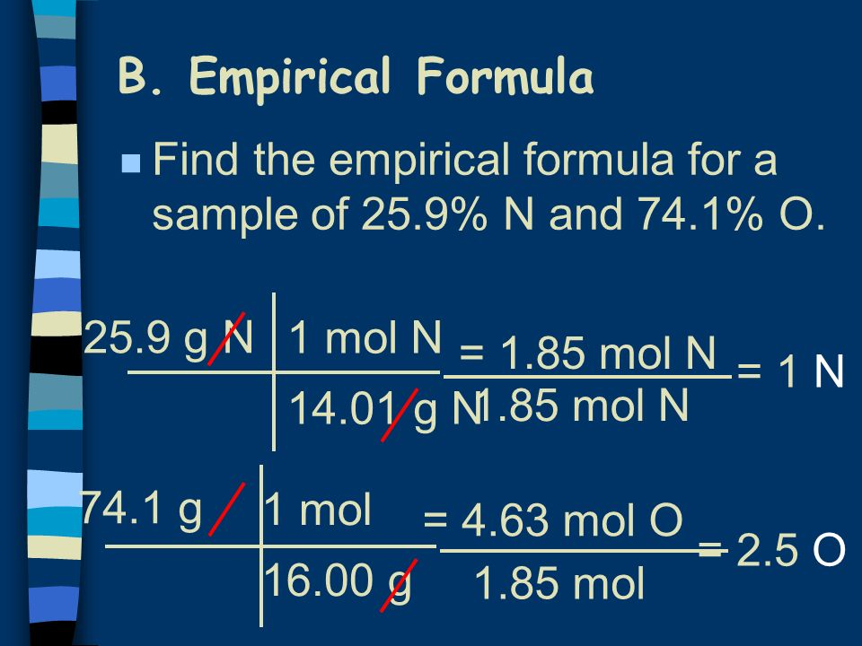 B. Empirical Formula Find the empirical formula for a sample of 25.9% N and 74.1% O. 25.9 g N. 1 mol N.