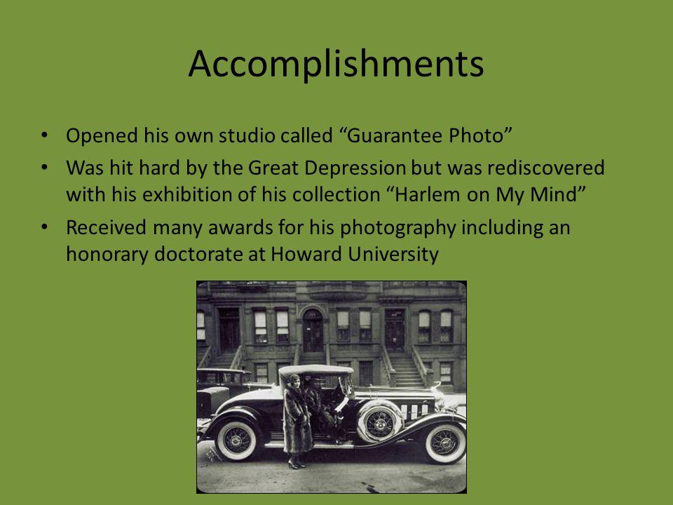Accomplishments Opened his own studio called Guarantee Photo