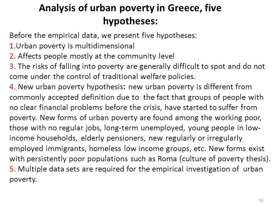 Analysis of urban poverty in Greece, five hypotheses: