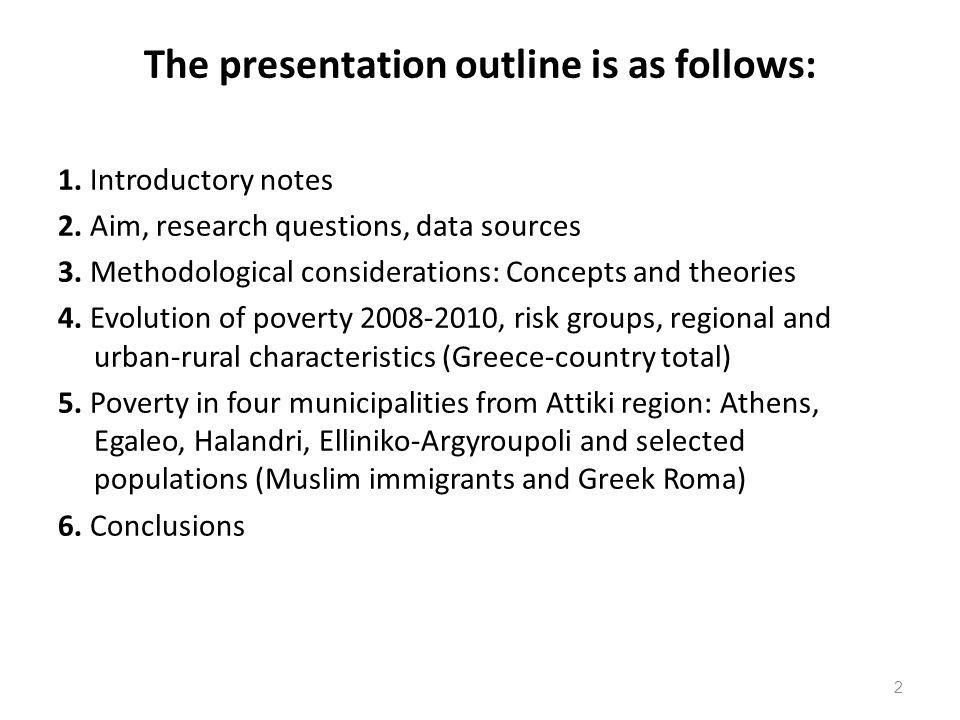 The presentation outline is as follows: