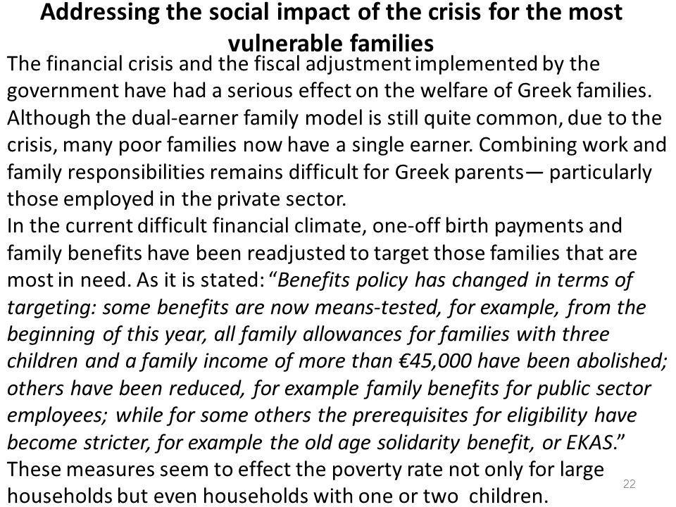 Addressing the social impact of the crisis for the most vulnerable families