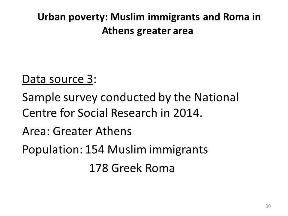 Urban poverty: Muslim immigrants and Roma in Athens greater area