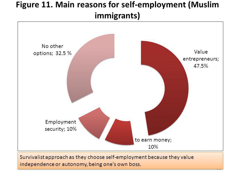 Figure 11. Main reasons for self-employment (Muslim immigrants)