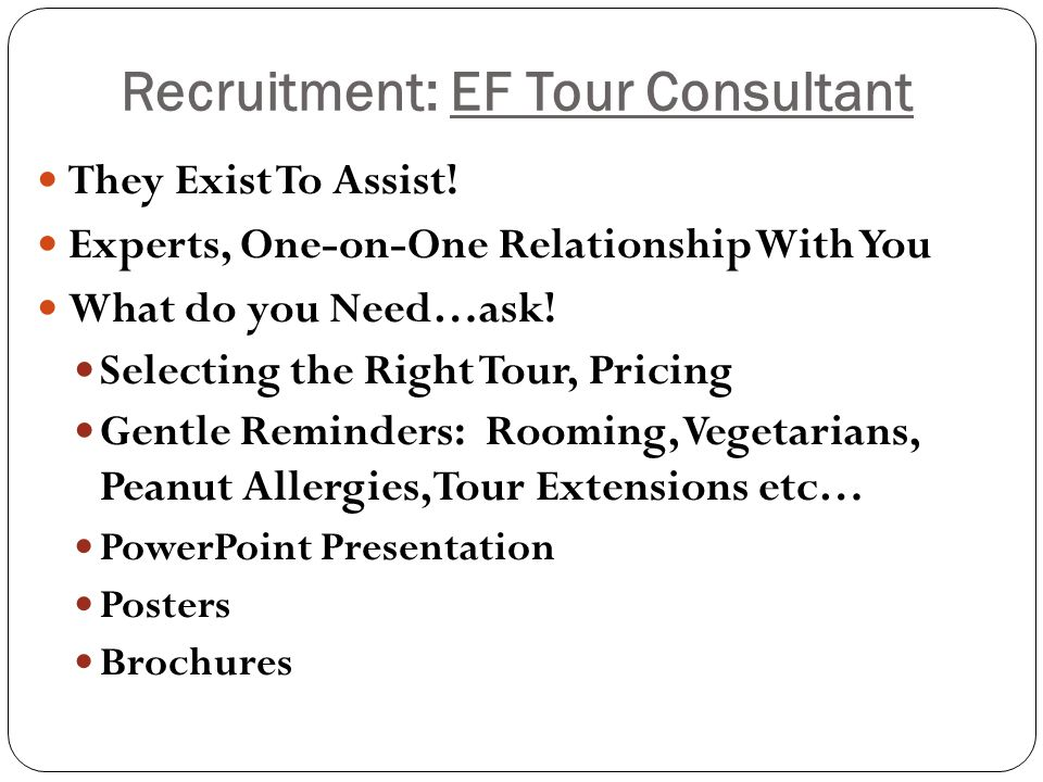 Recruitment: EF Tour Consultant