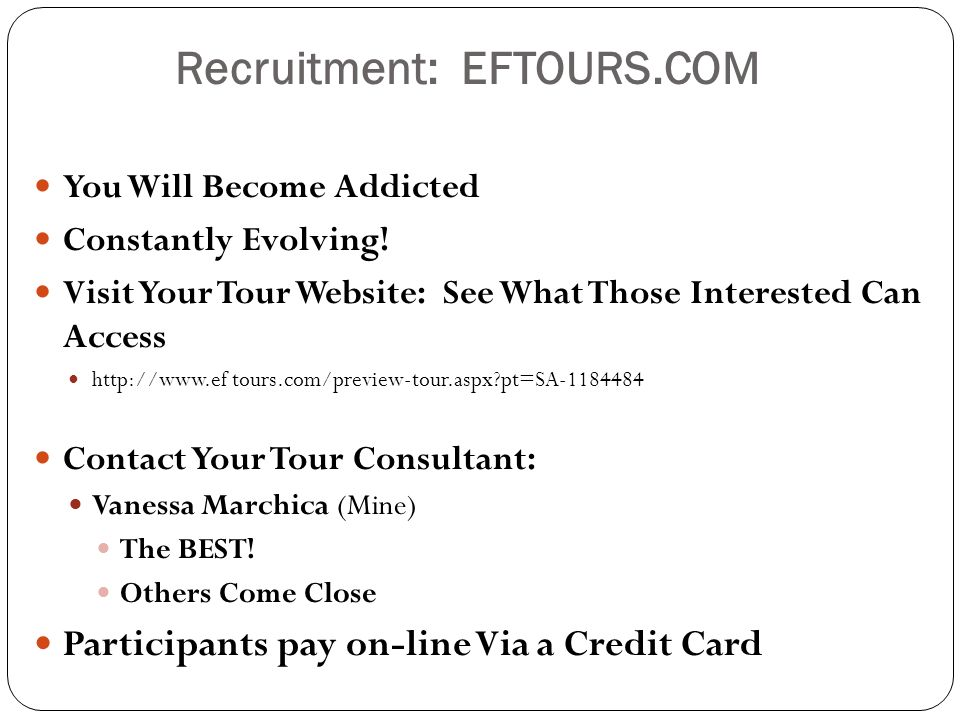 Recruitment: EFTOURS.COM