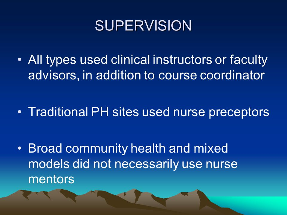 SUPERVISION All types used clinical instructors or faculty advisors, in addition to course coordinator.