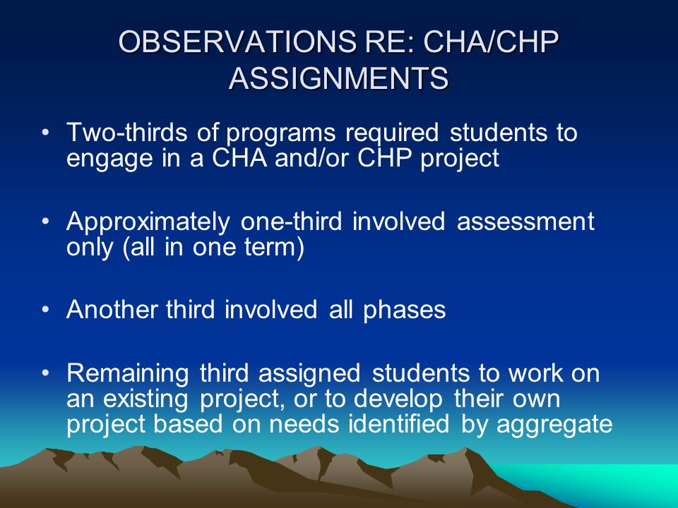 OBSERVATIONS RE: CHA/CHP ASSIGNMENTS