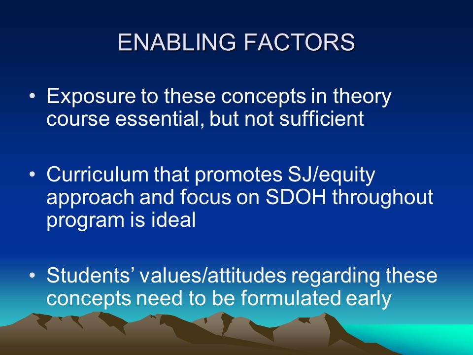ENABLING FACTORS Exposure to these concepts in theory course essential, but not sufficient.