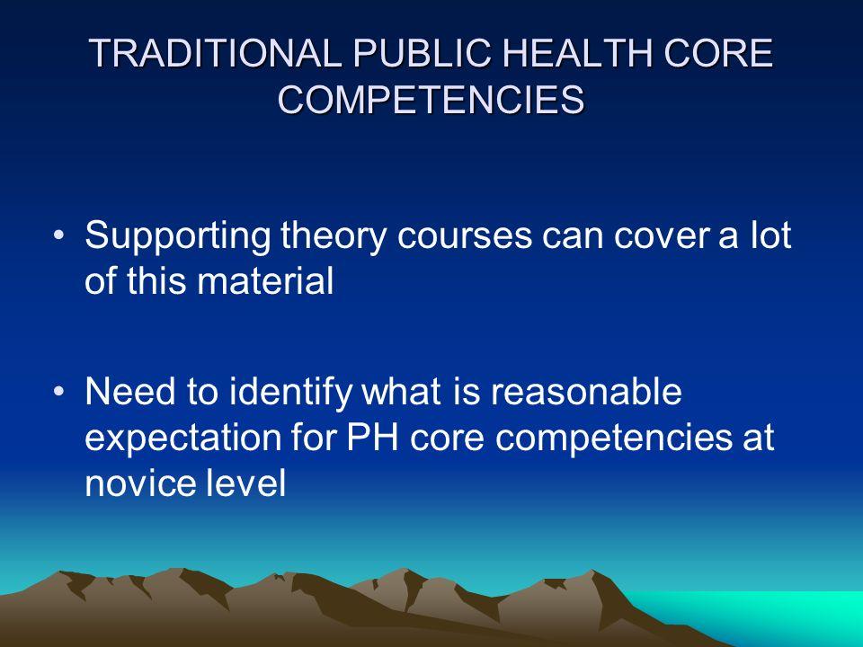 TRADITIONAL PUBLIC HEALTH CORE COMPETENCIES