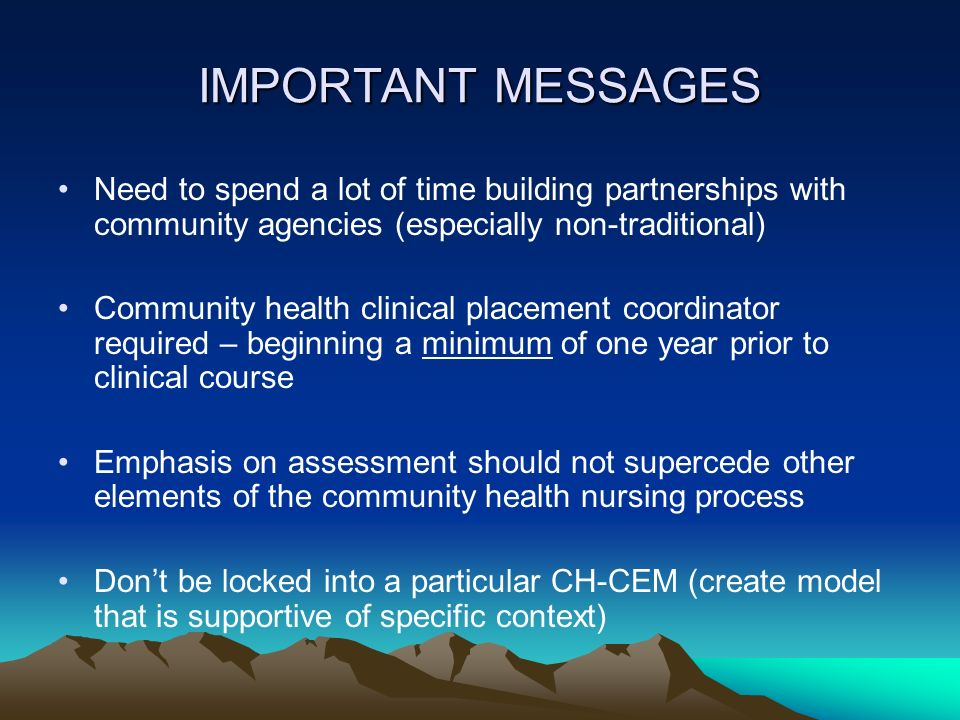 IMPORTANT MESSAGES Need to spend a lot of time building partnerships with community agencies (especially non-traditional)