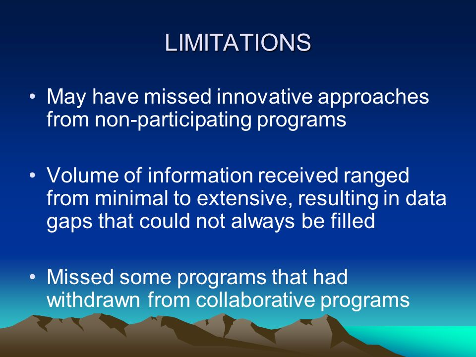 LIMITATIONS May have missed innovative approaches from non-participating programs.