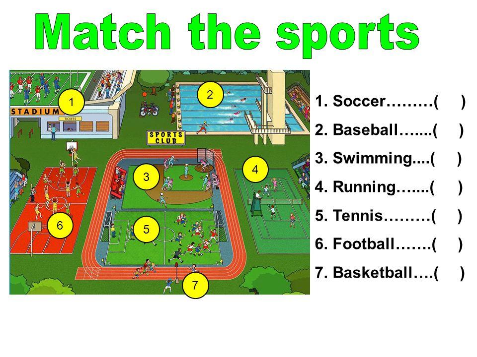 Match the sports Soccer………( ) Baseball…....( ) Swimming....( )
