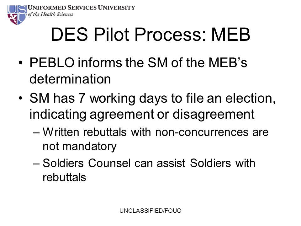 DES Pilot Process: MEB PEBLO informs the SM of the MEB's determination