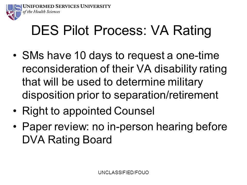 DES Pilot Process: VA Rating