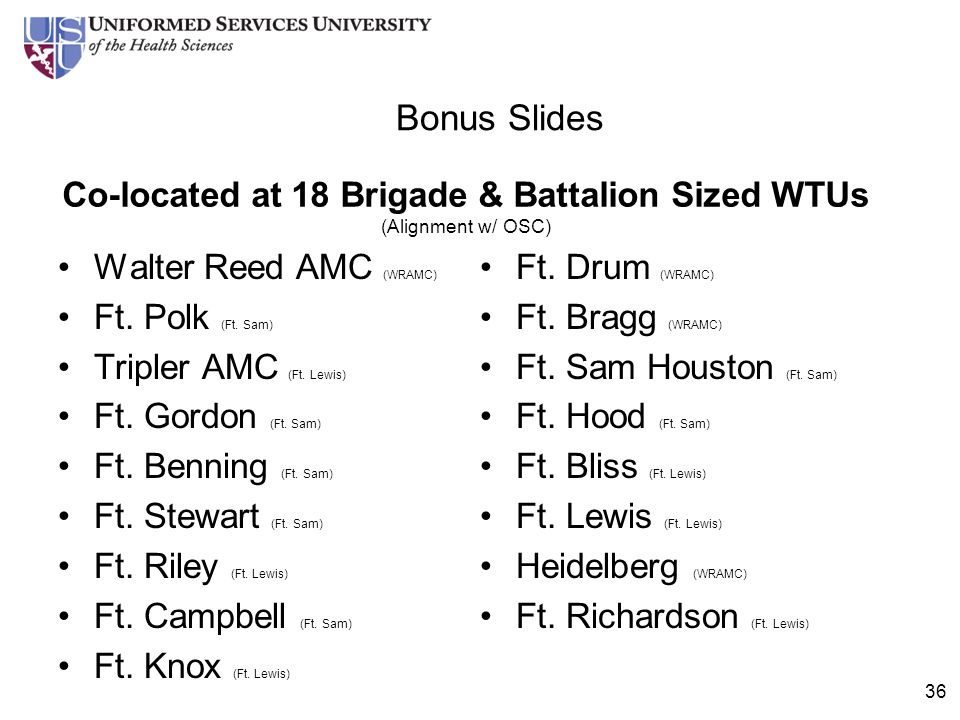 Co-located at 18 Brigade & Battalion Sized WTUs