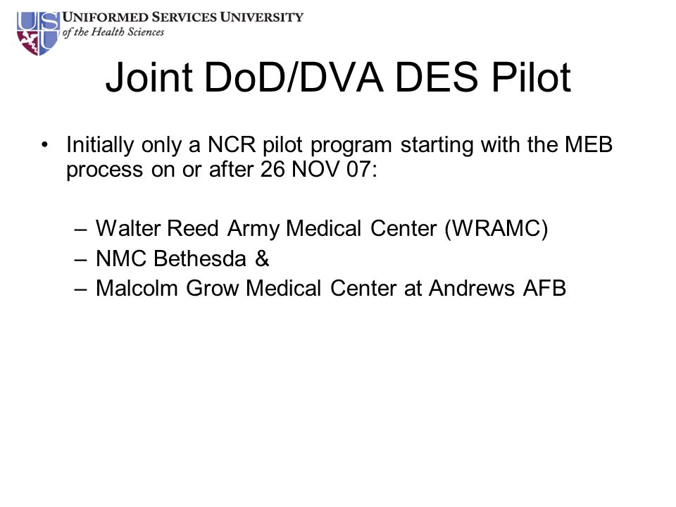 Joint DoD/DVA DES Pilot