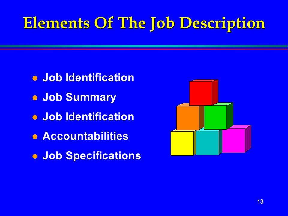 Elements Of The Job Description