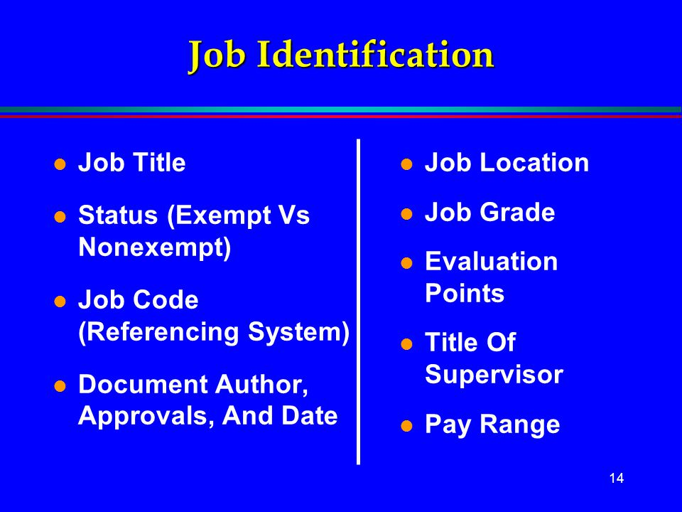Job Identification Job Title Status (Exempt Vs Nonexempt)