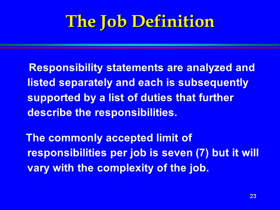 The Job Definition