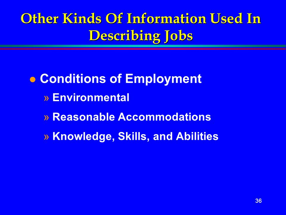 Other Kinds Of Information Used In Describing Jobs
