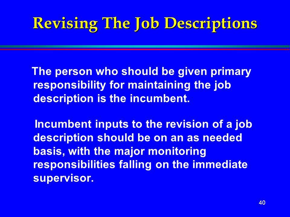 Revising The Job Descriptions