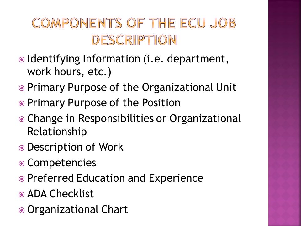 Components of the ecu job description