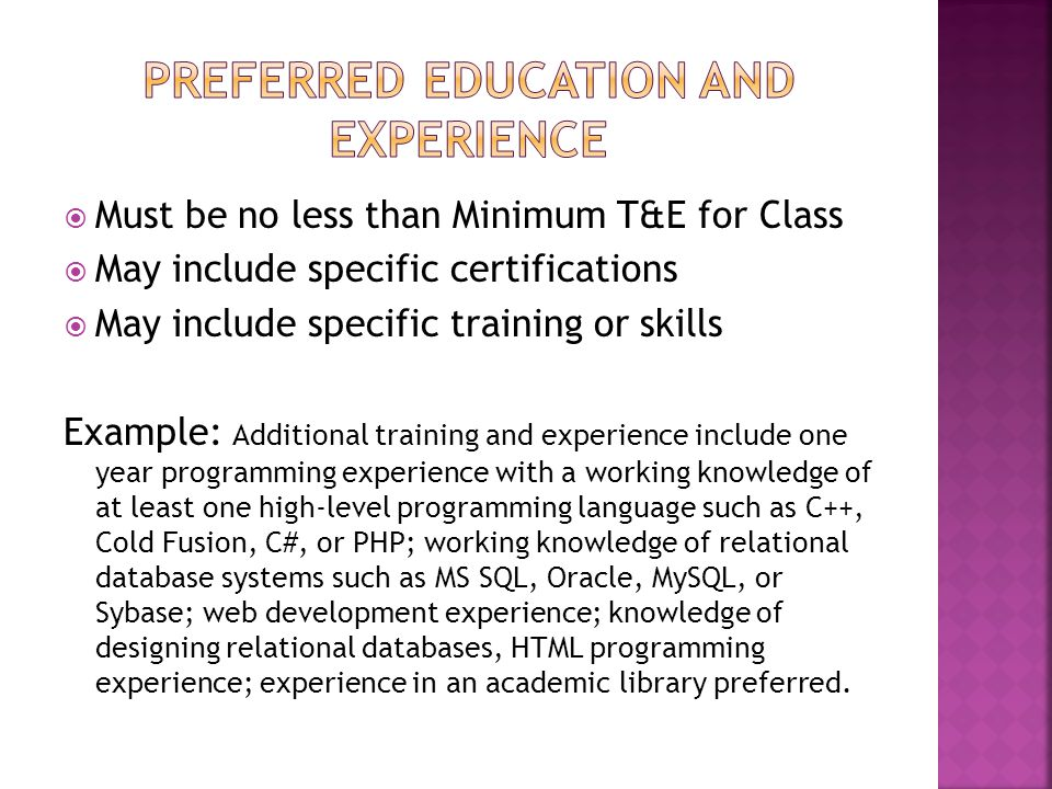 Preferred education and experience