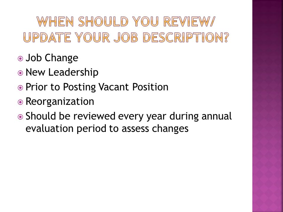 When should you review/ update your job description