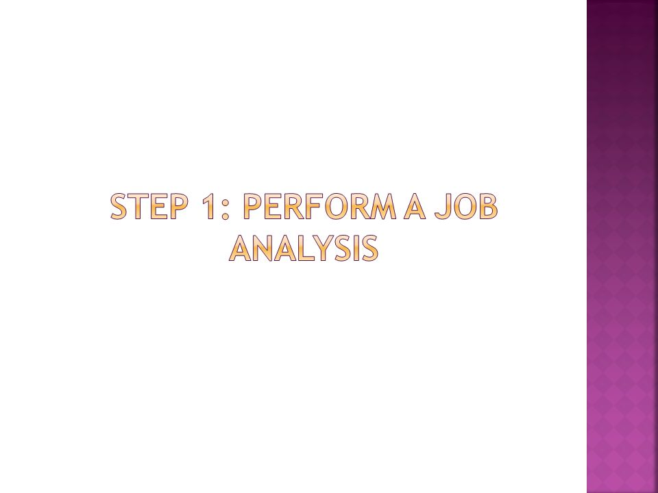 Step 1: perform a job analysis