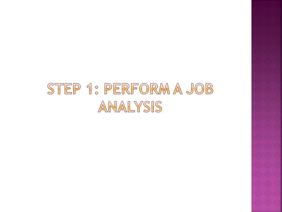 Step 1: perform a job analysis