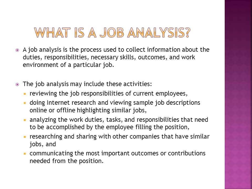 What is a job analysis