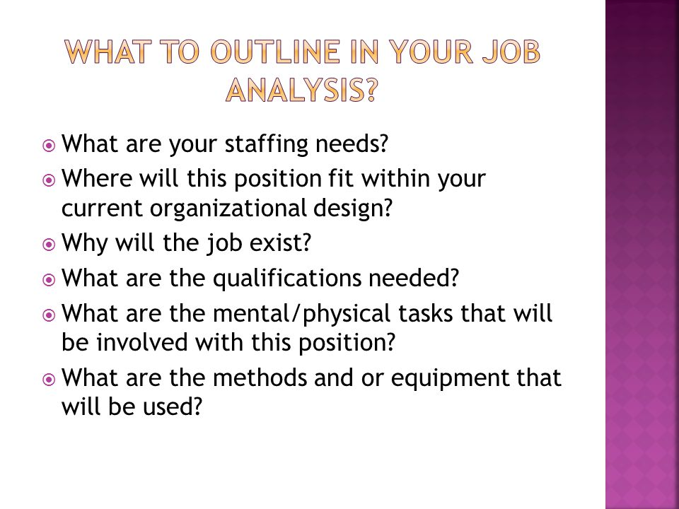 What to outline in your Job analysis