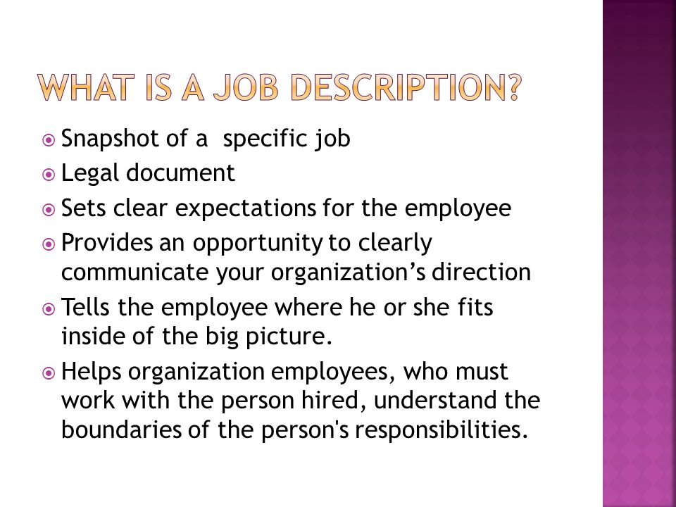 What is a job description