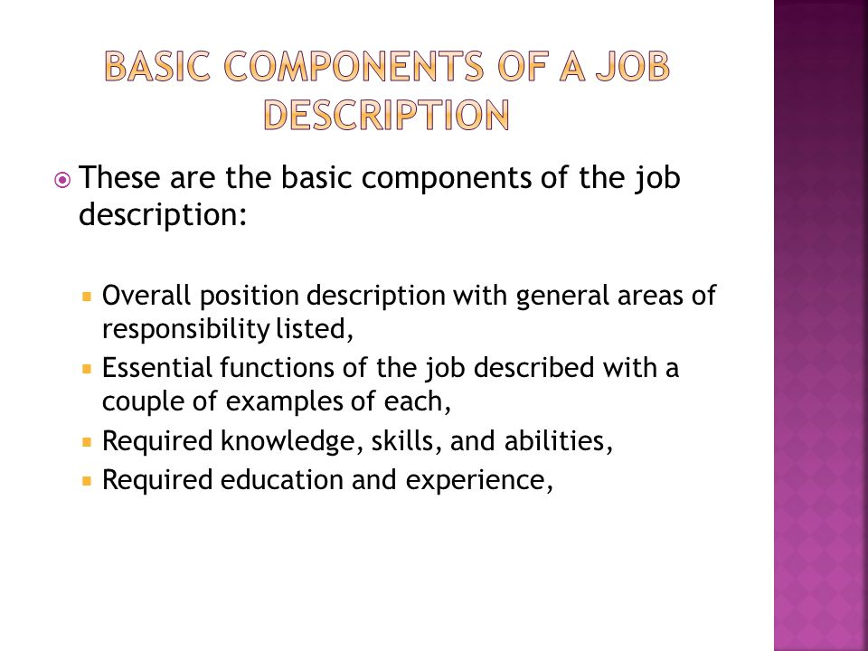 Basic Components of a job description