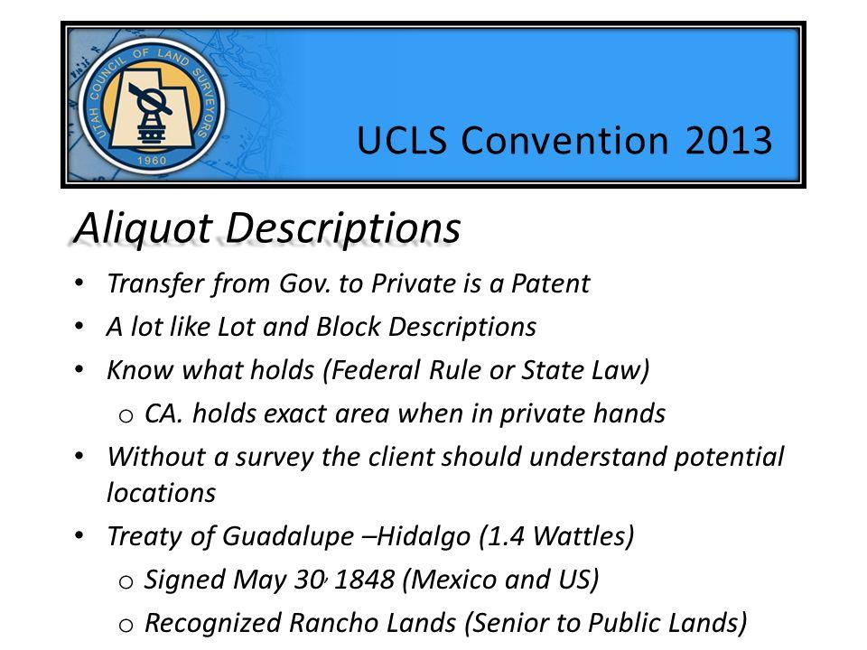 Aliquot Descriptions UCLS Convention 2013
