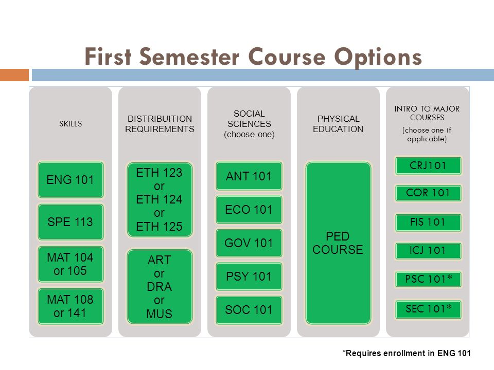 First Semester Course Options