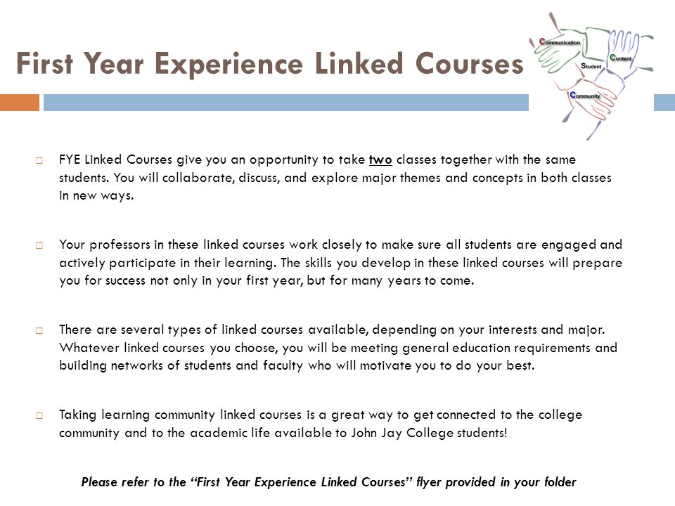 First Year Experience Linked Courses