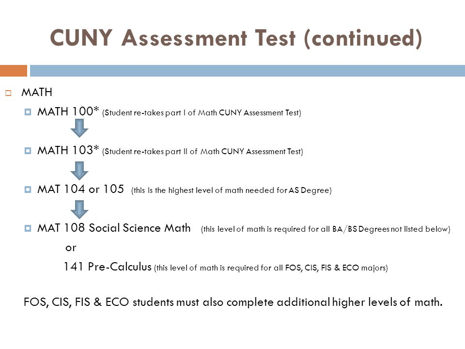 CUNY Assessment Test (continued)
