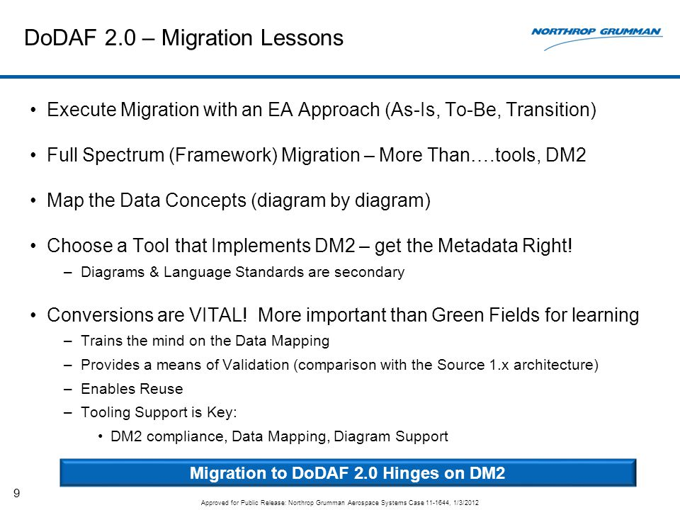 DoDAF 2.0 – Migration Lessons