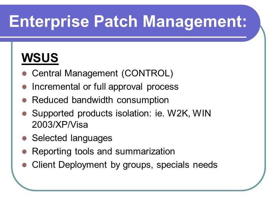 Enterprise Patch Management: