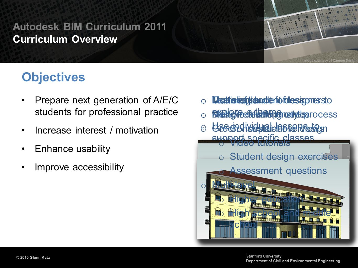 Objectives Prepare next generation of A/E/C students for professional practice. Multimedia. Multiple learning styles.