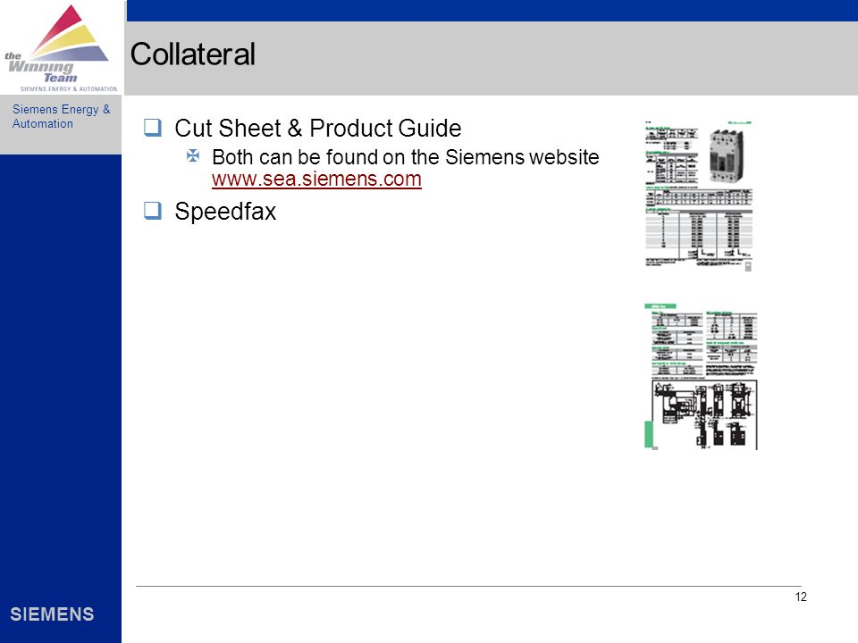 Collateral Cut Sheet & Product Guide Speedfax