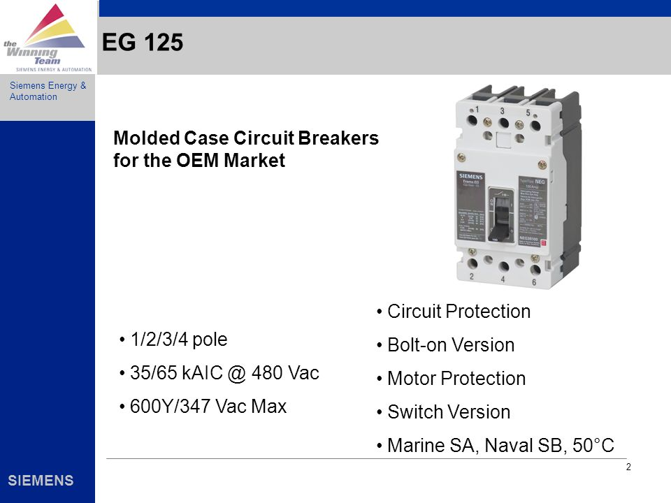 EG 125 Molded Case Circuit Breakers for the OEM Market