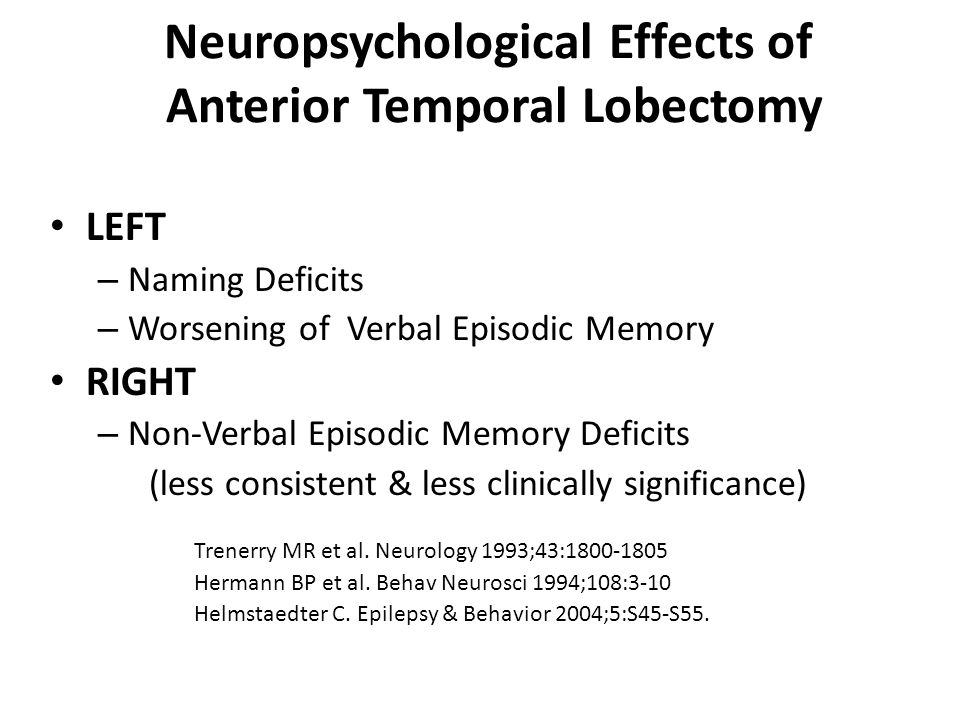 Neuropsychological Effects of Anterior Temporal Lobectomy
