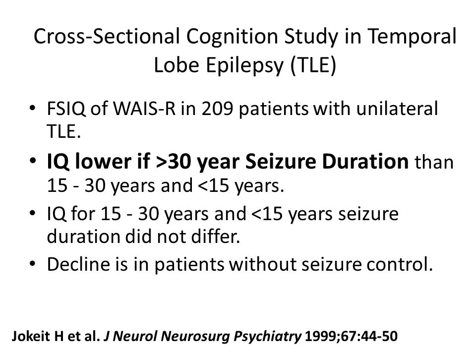 Cross-Sectional Cognition Study in Temporal Lobe Epilepsy (TLE)