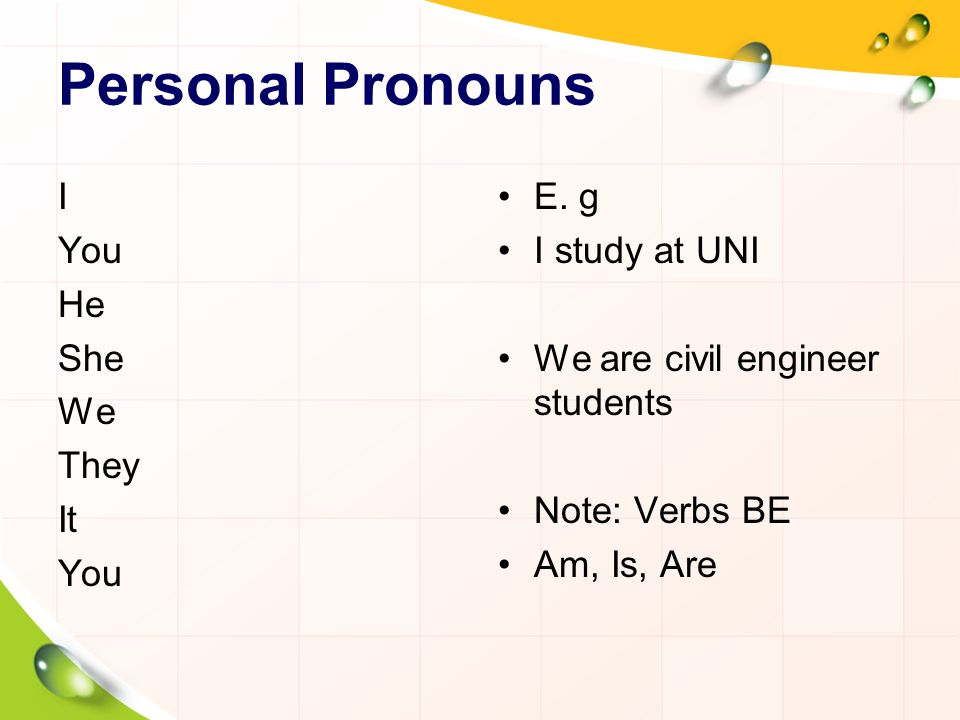 Personal Pronouns I You He She We They It E. g I study at UNI