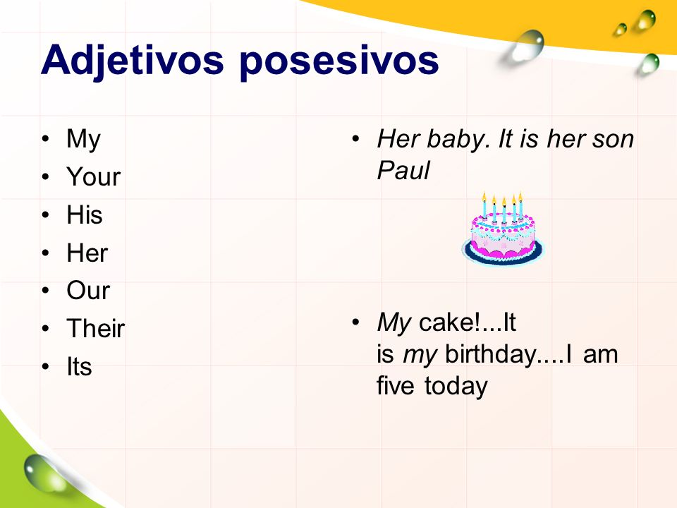 Adjetivos posesivos My Your His Her Our Their Its