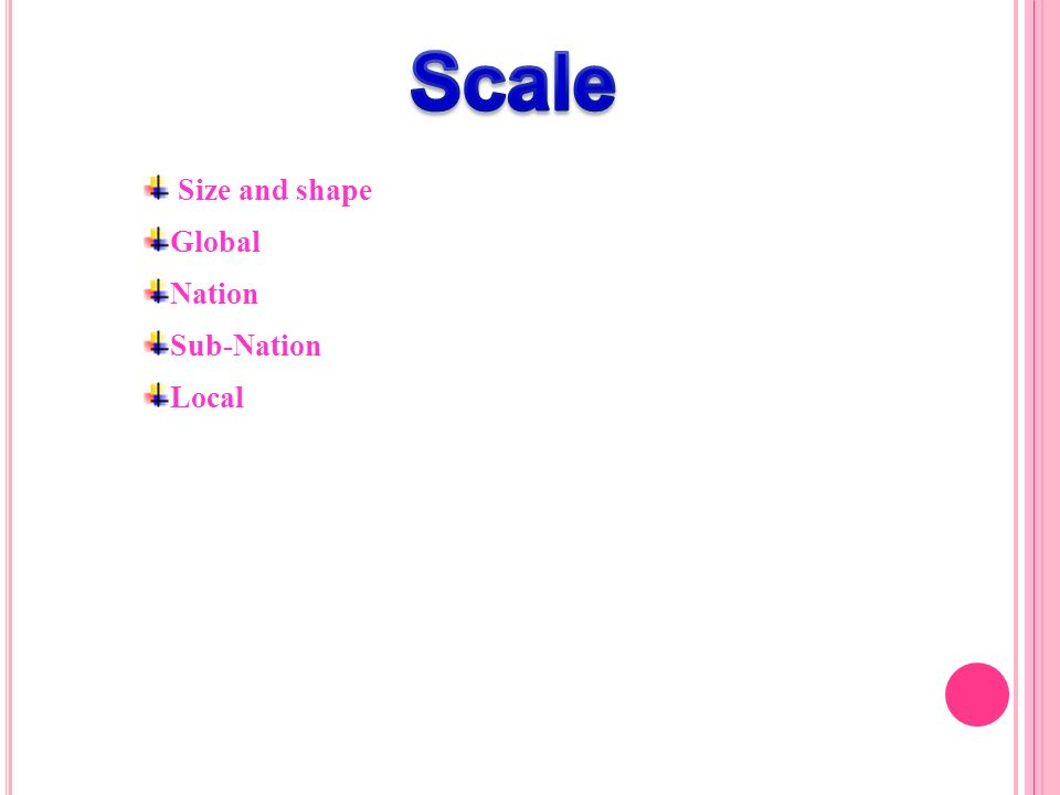 Scale Size and shape Global Nation Sub-Nation Local